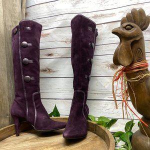 Antonio Melani Purple Suede Boots Tall High Heel 9